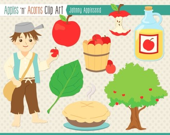 Johnny Appleseed Clip Art - color and outlines