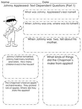 Johnny Appleseed Close Reading Lesson