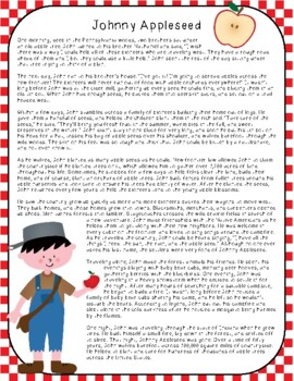 Johnny Appleseed Close Reading Passage and Questions