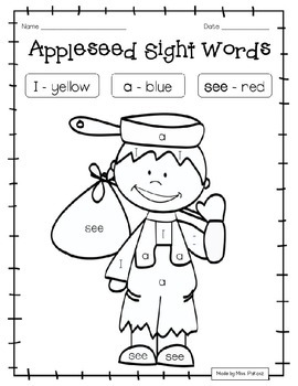EDITABLE Johnny Appleseed PREPRIMER Color By Sight Word - NO PREP!