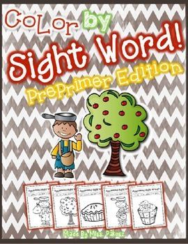 EDITABLE Johnny Appleseed PREPRIMER Color By Sight Word -
