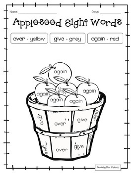 EDITABLE Johnny Appleseed GRADE 1 Color By Sight Word - NO PREP!