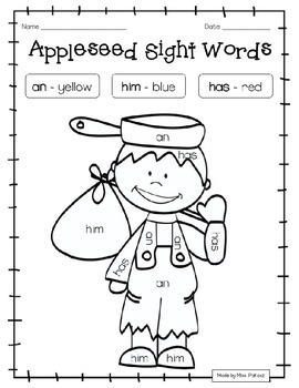 EDITABLE Johnny Appleseed GRADE 1 Color By Sight Word - NO ...