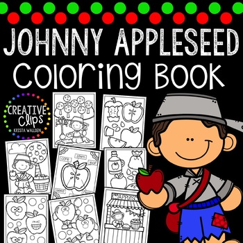 Johnny Appleseed Coloring Pages {Made by Creative Clips Clipart}