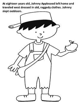 Johnny Appleseed Coloring Book with Informative Text