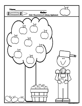 Johnny Appleseed Coloring Page Worksheets & Teaching ...