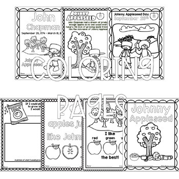 Johnny Appleseed Coloring Pages by Mini Mountain Learning | TpT