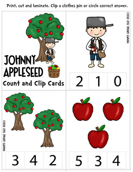 Johnny Appleseed Count and Clip cards - Apple clip cards 1-20