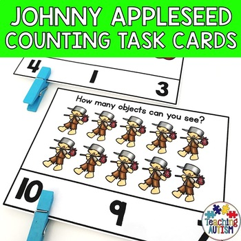 Johnny Appleseed Math Task Cards - Counting