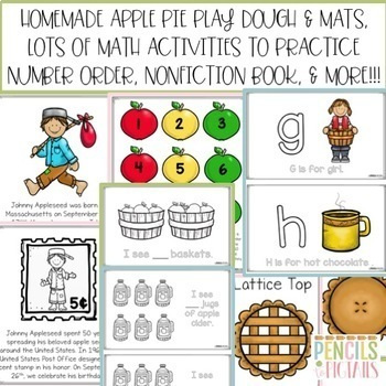 Johnny Appleseed Craft, Book, Writing Prompts, Science Fun, ELA, & Math!