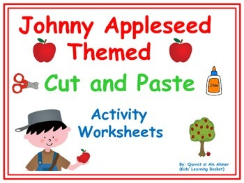 Johnny Appleseed Day Cut and Paste Activity Worksheets: