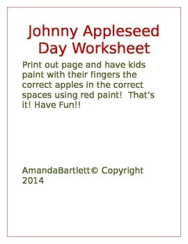 Johnny Appleseed Day worksheet