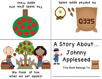 Johnny Appleseed Emergent Foldable Reader ~Color & B&W~ PLUS Printable