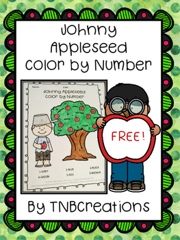 Johnny Appleseed FREE Color by Number
