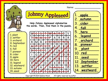 Johnny Appleseed FREEBIE:  Alphabetize and Find Word Search Puzzle
