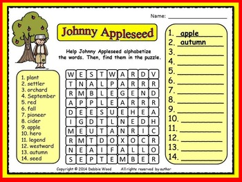 Johnny Appleseed FREEBIE:  Alphabetize and Find Word Searc