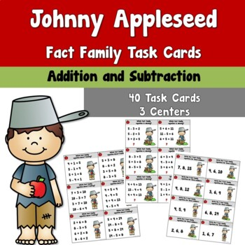 Johnny Appleseed Fact Family Task Cards