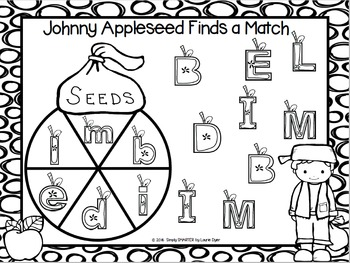 Johnny Appleseed Finds a Match:  NO PREP Letter Spin and Cover Match Game