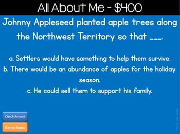 Johnny Appleseed Jeopardy Style Game Show