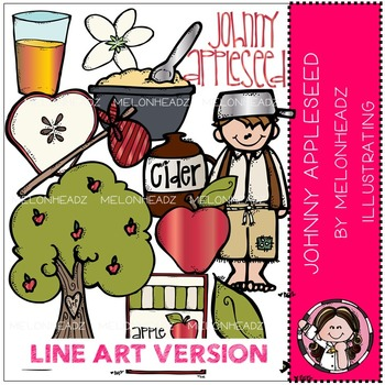 Johnny Appleseed clip art - LINE ART- by Melonheadz