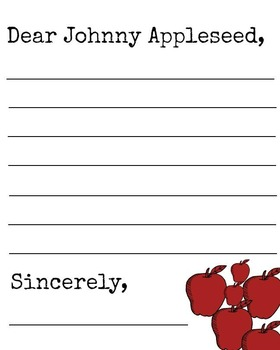 Johnny Appleseed Letter Template