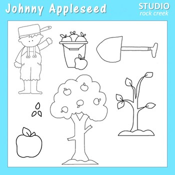 Johnny Appleseed Line Art  C. Seslar