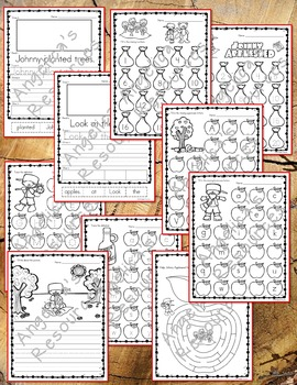 Johnny Appleseed Activities : Literacy and Math Printables - Just Print & Go!