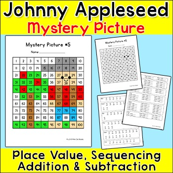 Johnny Appleseed Mystery Picture: Place Value, Sequencing, Addition, Subtraction