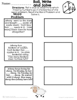 Johnny Appleseed Math Roll and Solve the Problem!