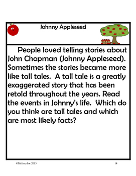 Johnny Appleseed--Math/Literacy Activities, Map Skills, Biography
