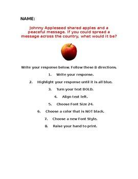 Johnny Appleseed Microsoft Word Skill Practice