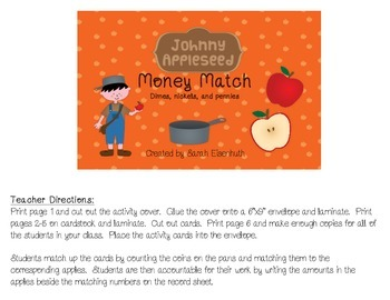Johnny Appleseed Money Match - Dimes, Nickels, and Pennies