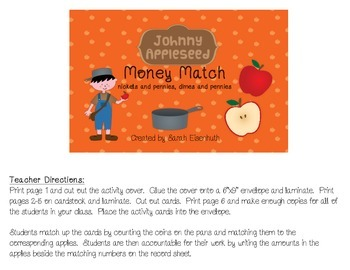 Johnny Appleseed Money Match - Nickels and Pennies, Dimes and Pennies