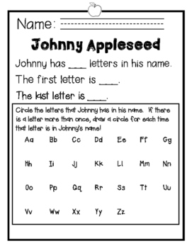 Johnny Appleseed Name Activity