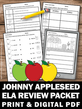 Johnny Appleseed Day Activities, Language Arts Review Packet, Parts of Speech