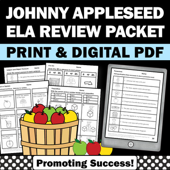 Johnny Appleseed Day & Apples Literacy Grammar Worksheets