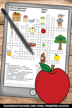 Johnny Appleseed Day Activities, Crossword Puzzle, Word Search, Word Scramble