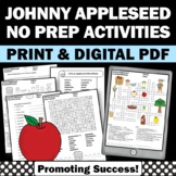 Johnny Appleseed Activities, Crossword Puzzle, Word Search, Word Scramble