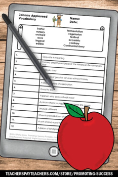 Johnny Appleseed Day Activities, Nonfiction Reading Passage, Apples Unit