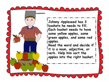 Johnny Appleseed Nouns, Verbs, Adjectives Apple Word Sort!