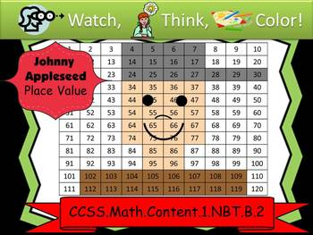 Johnny Appleseed Place Value - Watch, Think, Color!