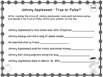 graphic about Johnny Appleseed Printable Story named Johnny Appleseed Printable E book and Comply with-up Sheets!