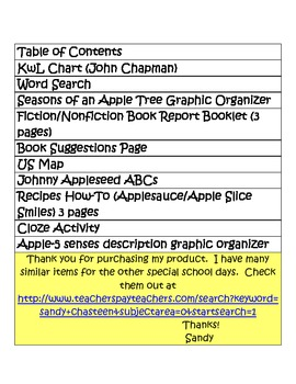 Johnny Appleseed Printables (16 pages)