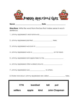 Johnny Appleseed Quiz