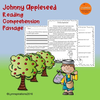 Johnny Appleseed Reading Comprehension Passage: Fun Johnny Appleseed Activities!