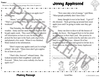 Johnny Appleseed Reading Comprehension Passage and Questions + Fluency