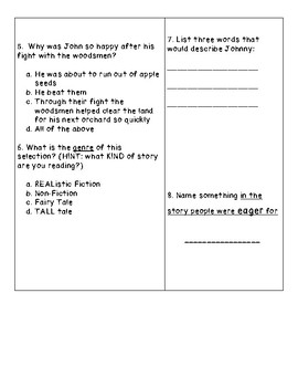 Johnny Appleseed Reading Comprehension Quiz