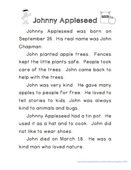 Johnny Appleseed Reading Comprehension with Writing Extension First Grade