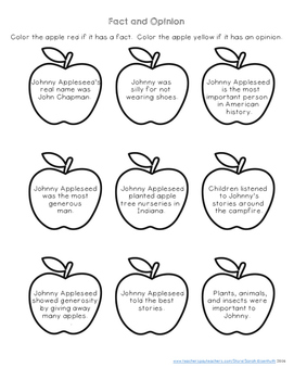 Johnny Appleseed Reading Comprehension with Writing Extension Fourth Grade