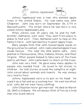 Johnny Appleseed Reading Comprehension with Writing Extension Third Grade